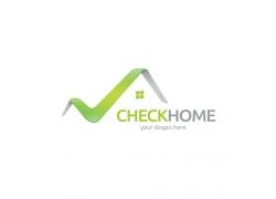 绿色曲线房屋标志