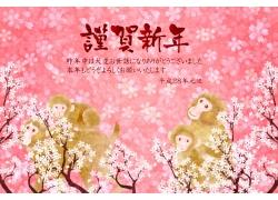 猴年谨贺新年海报背景