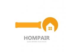 放大镜与房子logo设计