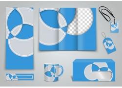 蓝色立体叶子VI模板