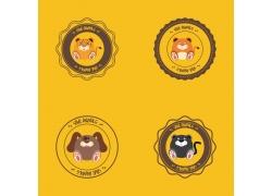卡通动物插图标签图片图片