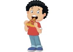 吃披萨的卡通小人