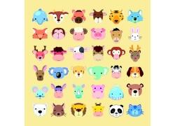 彩色卡通动物头像图片