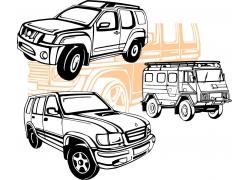 手绘汽车和巴士