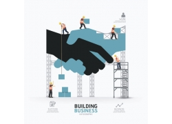 商务建筑工人信息图表