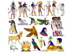 埃及人物动物插画图片