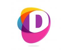 彩色D字母logo设计