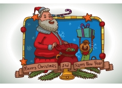 卡通圣诞老人与卡通猴子