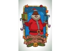 双手捧礼物的圣诞老人