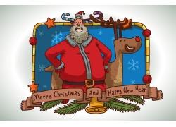 卡通驯鹿圣诞老人