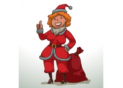 竖大拇指的美女圣诞老人