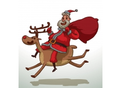 骑驯鹿的圣诞老人