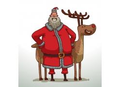 卡通驯鹿与圣诞老人