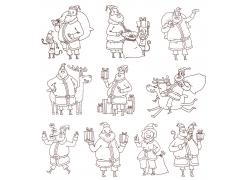 圣诞老人白描画