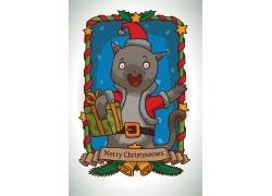 拿礼物的动物插画图片