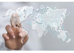 点击世界地图的手势
