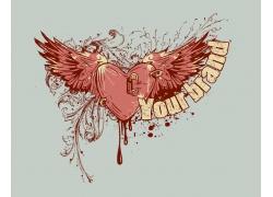 滴血的心T恤印花