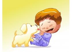 卡通小狗与卡通男孩图片