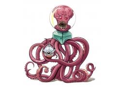卡通章鱼怪物插画图片