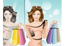 时尚购物美女插画图片