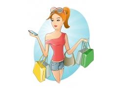 拿着手机的购物美女图片