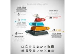 彩色立体三角形金字塔信息图表