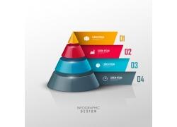 卷边立体三角形金字塔信息图表
