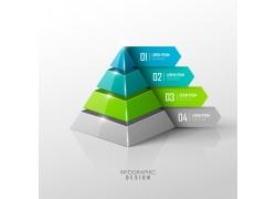 折纸绿色金字塔信息图表