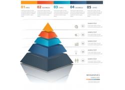 红蓝灰金字塔信息图表