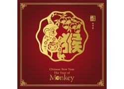 猴子摘桃剪纸素材