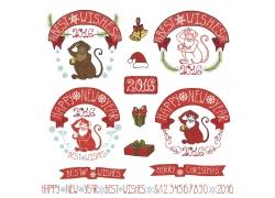 圣诞节猴子标签