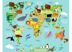 世界动物地图图片