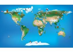 卡通动物与世界地图图片