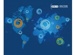 科技环与世界地图图片