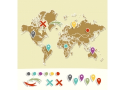 世界地图与标记符号图片
