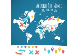 地图标记符号与世界地图图片