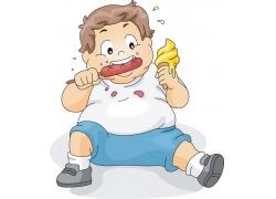 坐着吃的胖儿童插画图片