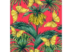 热带植物蝴蝶图案