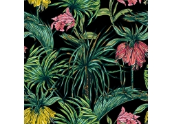 水彩热带植物花卉图案