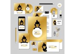 卡通猴子金色VI背景