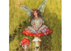 蘑菇上的精灵插画图片