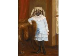 创意宠物狗女孩油画图片