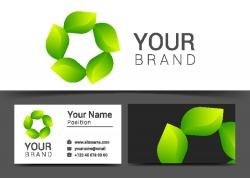 绿叶logo名片设计