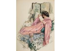 躺在床上看书的美女图片