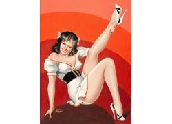 抱长腿性感美女油画