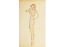 长腿性感美女油画