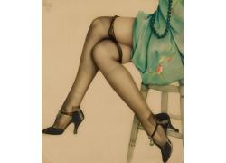 长腿丝袜美女油画