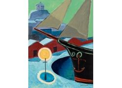 轮船油画艺术图片