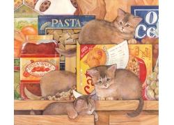 猫粮小猫插画图片