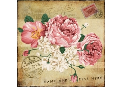鲜花邮戳装饰画图片